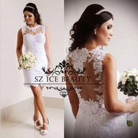 Wholesale See Through Bodice Wedding Dresses - Cheap Little White Wedding Dresses 2017 Lace Appliques Illusion Bodice See Through Sheer Sleeveless Short Beach Bridal Gowns For Women