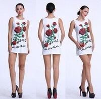 Wholesale Rose Tank Dress - Women Summer Rose Flower Printing Tank Sleeveless Party Evening Cocktail Short Casual Mini Dress Brand New Good Quality Free Shipping