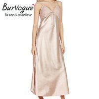 Wholesale Long Sexy Nighties - Burvouge Sexy Women V-neck Lace Nightdress Faux Silk Maxi Nightgowns Sleepwear Sleeveless Nighties Lingerie Long Nightdress