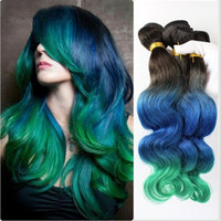 Wholesale Extentions Human - Teal Ombre hair extentions 8A grade Brazilian Ombre Hair 1b  Blue Green three Tone Ombre body wave Human Hair weave bundles 3pcs lot