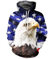 Wholesale Food Hoodie - Harajuku Hooded Sweatshirt Women Men Eagle American Flag 3D Hoodie Outerwear Pullover food printing jumper drop shipping