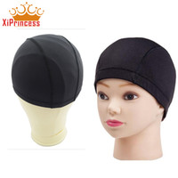 Wholesale Cheap Nylon Netting - Cheap weaving caps spandex dome wig cap for making wigs black weave cap invisible hair net nylon stretch wig net cap 3pcs Lot
