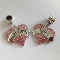 überlebensarmbänder großhandel-Kostenloser Versand inspirierende Wort Survivor Hoffnung rosa Kristall Herz Perlen Charme Pandora Armband Frauen Schmuck Schmuck machen