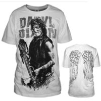 Popular Movie COS The Walking Dead 6 Daryl Dixon T-shirt Cosplay Moda Top White Round Collar