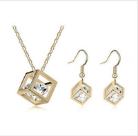 Wholesale Drop Earring Supplies - Cube inside CZ Diamond Crystals 18K Gold Plated Drop Earrings and Pendant Necklace Fashion Bride Wedding Jewelry Set Wedding Party Supplies