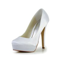 Wholesale Double Platform Pumps - 2016 High Heel HandMade Double Platform Plain Style Ivory White Color Wholesale Women Bridal Wedding Shoes Made in China from Size 35-42