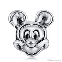 Wholesale Pandora Mouse - Wholesale Fashion Mickey Mouse Charm 925 Sterling Silver European Charms Floating Beads Fit Pandora Snake Chain Bracelets DIY Jewelry