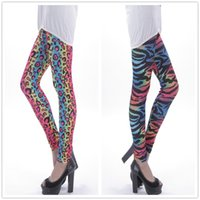 Wholesale China Dance Clothes - Wholesale- 2016 fashion women summer Colorful Leopard print casual leggings fitness legging Dancing Pants cheap clothes china clothing