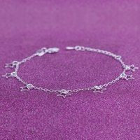 Wholesale Romantic England - 12Pcs Lot England Style Women New Exquisite Hollow Stars Anklets 925 Sterling Silver Jewelry Brand Trendy Fashion O Foot Chain Party Gift
