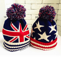 Wholesale Union Hats - Kids Boy Girl Union Jack or Stars Stripes USA Flag Warm Winter Bobble Beanie Skull Ski Pom Pom Hat Cap