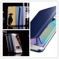 Wholesale back view mirror - For iPhone 7 6 plus Samsung S7 S6 Edge plus Hyperbolic Mirror Case Smart View Wallet Flip Hard Back Shell Case Note 5