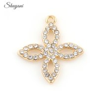 Wholesale Cloves Flower - Lucky Clove Flower Charms Pendants with Rhinestone Dangle Charms for Women DIY Necklace Jewelry Making 25*27mm Silver Gold Plated