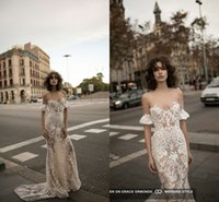 Wholesale Sexy Cross Skirt - Liz Martinez 2016 Champagne Lace Off-shoulder Summer Beach Wedding Dresses with Sleeves Illusion Neck Sheath Cheap Bridal Wedding Gown