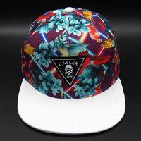 Wholesale Script Snapback - 2016 top brand Floral Script Snapback Caps hip hop white flower print cap fashion mens women snap backs hats gorras baseball hat