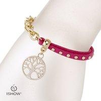 Wholesale China Designer Bangles - Gold bangle with the life of tree rosered charm bracelets velvet rivet luxury brand designer cheap jewelry wholesales