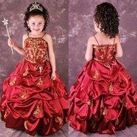 robes de fille de fleur rouge pleine longueur achat en gros de-Mignon Rouge Une Ligne Broderie Fleur Filles Robes Ruffles Pick Up Appliques Longueur Fête De Mariage Filles Pageant Robes BO8996