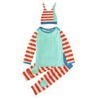 portakal boys gömlek toptan satış-Erkek Kız Giyim Setleri Turuncu Stripes Baskı Kış Sonbahar Bahar Rahat Takım Elbise Gömlek Pantolon Şapka Bebek Kıyafetler Çocuklar Üstleri Şort 0-24 M