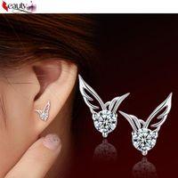 Wholesale Pair Crystal Stud Earrings - 1 Pair Fashion Women Silver Plated Designer Jewelry Angel Wings Crystal Ear Stud Earrings