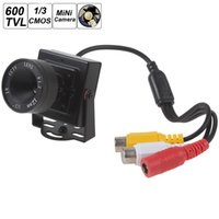 Wholesale Cmos 12mm - Mini HD 600TVL 1 3 CMOS Security Audio Video Color CCTV Camera with 12mm Lens PAL   NTSC CCT_534