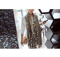 Wholesale Tartan Leopard Scarf - Free shipping !European and American stars fringed long Scarf Autumn, winter ultra fine imitation cashmere leopard shawl
