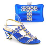 Wholesale Office Bags For Women - High class hot Summer style African lady heel shoes and bag set for party ,heels 2.8 inch Th16-48