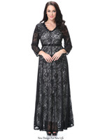 Wholesale Embroidery Womens Evening Gown - New autumn lady temperament lace dress V NECK fashion womens sexy black dresses party evening female flower Casual Dress bracelet sleeve