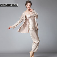 Wholesale Pyjamas Women Silk - Wholesale- Ladies Pyjamas Set Comfortable Womens Satin Pajamas Sets Faux Silk Pajamas for Women Winter Sleepwear Silk Nightwear SY108#30