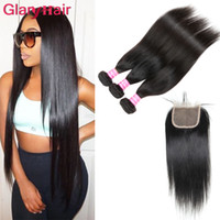 Wholesale 18 22 human hair ponytail resale online - New Arrival Unprocessed Mink Brazilian Straight Virgin Hair Weaves Closure bundles with Top Lace Closure Remy Human Hair Ponytail Wholesal