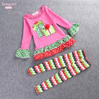 Wholesale Kids Piece Character Costumes - 2016 New Christmas Girls 2 pieces long-sleeved New Year outfits sets kids christmas outfits girls 3D flower tshirt and chevron pant Costumes