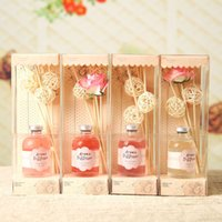 Wholesale Scented Fragrance Diffuser - Wholesale- 60ml Dried Flower Rattan Sticks Aroma Diffuser Scented Oil Reed Diffuser Fragrances Rose Lavender Jasmine Ocean Free Shipping