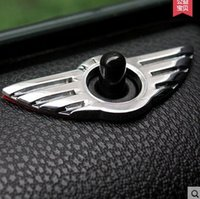 Wholesale Car Lock Knobs - 10Pcs lot Car Styling Insignia Emblem Wing Alloy MINI Sticker Decoration for BMW MINI Cooper R55 R56 R57 R58 R59 Door Lock Knob