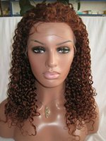 Wholesale Remy Half Wigs - virgin brazilian glueless full lace wigs human hair front lace wigs natural hairline deep curl #33 color with baby hair