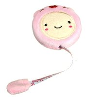 Wholesale Cute Tape Measures - Tape Measure Ruler Novelty Cute Cartoon Pattern Plush LDPE Candy Color Smiling Retractable Sewing Tool 150cm 60 Inch