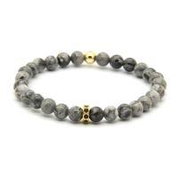 pulseiras de marca sorte venda por atacado-Atacado 10 pçs / lote Moda Marca de Jóias 6mm Cinza Jasper Stone Beads com Micro Inlay Preto Zircons Spacer Cz Sorte Pulseiras