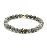 Wholesale Micro Links Wholesalers - Wholesale 10pcs lot Fashion Brand Jewelry 6mm Grey Jasper Stone Beads with Micro Inlay Black Zircons Spacer Cz Lucky Bracelets