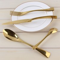 Wholesale Chopstick Spoon Fork - LEKOCH 18 10 Stainless Steel Dinnerware Cutlery Dinner Fork Spoon Knife With 18K Gold Plated For Monther Day Gift