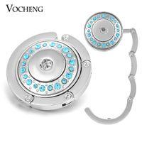 Wholesale Crystal Holder Hooks - VOCHENG NOOSA Snap Jewelry Alloy Hook 4 Colors Crystal Portable Folding Women Handbag Holder Fit 18mm Charms NN-502