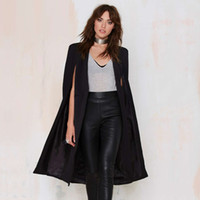 Wholesale Cloak Cape Trench Coat - New 2016 Cape Design Solid Long Style Open Women's Trench Girls Cloak Coats Outerwears Tops Female Clothing free shipping