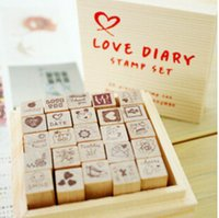 Wholesale New Wooden Cat Stamp - Wholesale-New wooden funnyman Cute cat Love diary stamp set DIY wood Box stamping Labels, Indexes & Stamps H0950