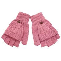 Wholesale girls pink gloves - 2018 Fashion Gloves Women Mitten Warmer Women Winter Glove Fingerless Gloves Female Girls Clamshell Warm Half Finger Gloves
