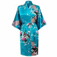 Wholesale Ladies Nightwear Hot - Wholesale- Hot New Blue Chinese Lady Silk Rayon Nightwear Sexy Femmes Robes Kimono Bath Gown pijama feminino Size S M L XL XXL XXXL A-015