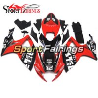 Wholesale Red Black Full Fairing Kit - ABS Injection Fairings For Suzuki GSXR600 GSXR750 K6 06 07 2006 2007 ABS Plastics Motorcycle Full Fairing Kit Body Cowling Red Black 12