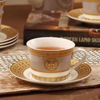 kemik çini toptan satış-Porselen kahve fincan ve fincan tabağı kemik çin kahve seti anahat altın çay bardağı ve fincan seti daire Ev Restoranlar Ekran için set