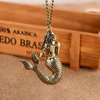 Wholesale Childrens Necklace Chain - Mermaid Pattern Long Chain Girl Charm Necklace Jewelry girls jewelry childrens jewelry