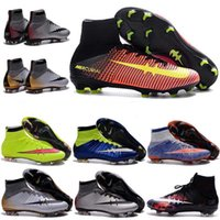 Wholesale Mercurial Sg - 2017 men MERCURIAL SUPERFLY CR SG-PRO adult children's high soccer shoes Natural Hard turf with CR7 Outdoor women kids soccer shoes