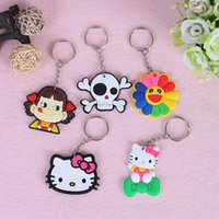 Wholesale Plastic Skull Figures - Creative PVC Figures Soft Rubber Models Cartoon Keychain Skull Hello KT Key Ring Holder Key Chains Finder Souvenirs Gifts Item