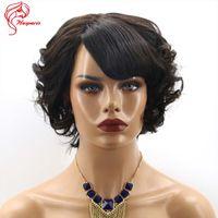 Wholesale French Hair Cut - Fashion 2016 New 6inchs Brazilian Body Wave Loose Wave Deep Curly Short Cute Bob Cut Wigs Machine Made None Lace Human Hair Wigs