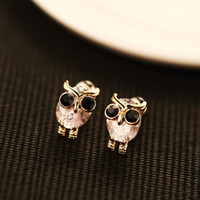Wholesale Small Owl Stud Earrings - Hot Sale Animal Owl Earrings for Women   Girls Fashion Zircon Small Stud Earrings 18K Gold Plated Vintage Cute Earrings Jewelry Accessories