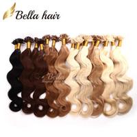 "Wholesale Nail Tip Wave Hair - TOP grade 1g strand 100g set Indian Italian keratin Nail U tip hair extensions 18""20""22""24"" #1#2#4#22 Bellahair Pre-bonded Hair"