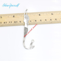 Wholesale Mermaid Silver Bookmarks - 2pcs lot Tibetan Silver Plated Mermaid Bookmark Charms Pendants for Bracelet Jewelry Making DIY Handmade Craft 82x22mm